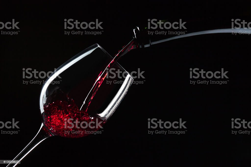 bottle and glass with red wine stock photo