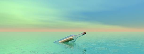 bottle and sea stock photo