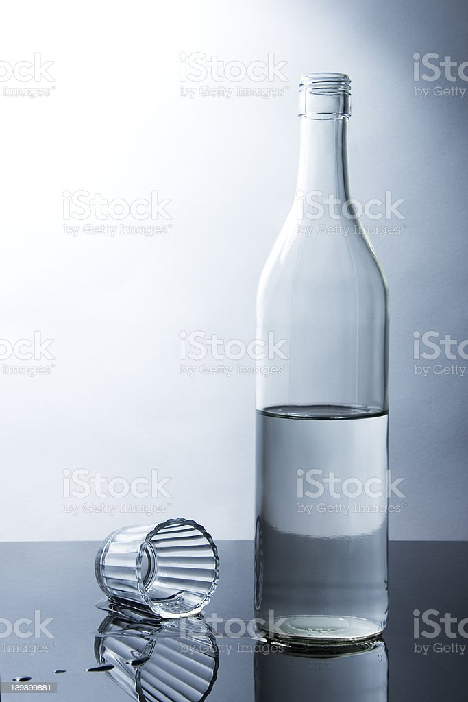 Bottle and shooter glass royalty-free stock photo
