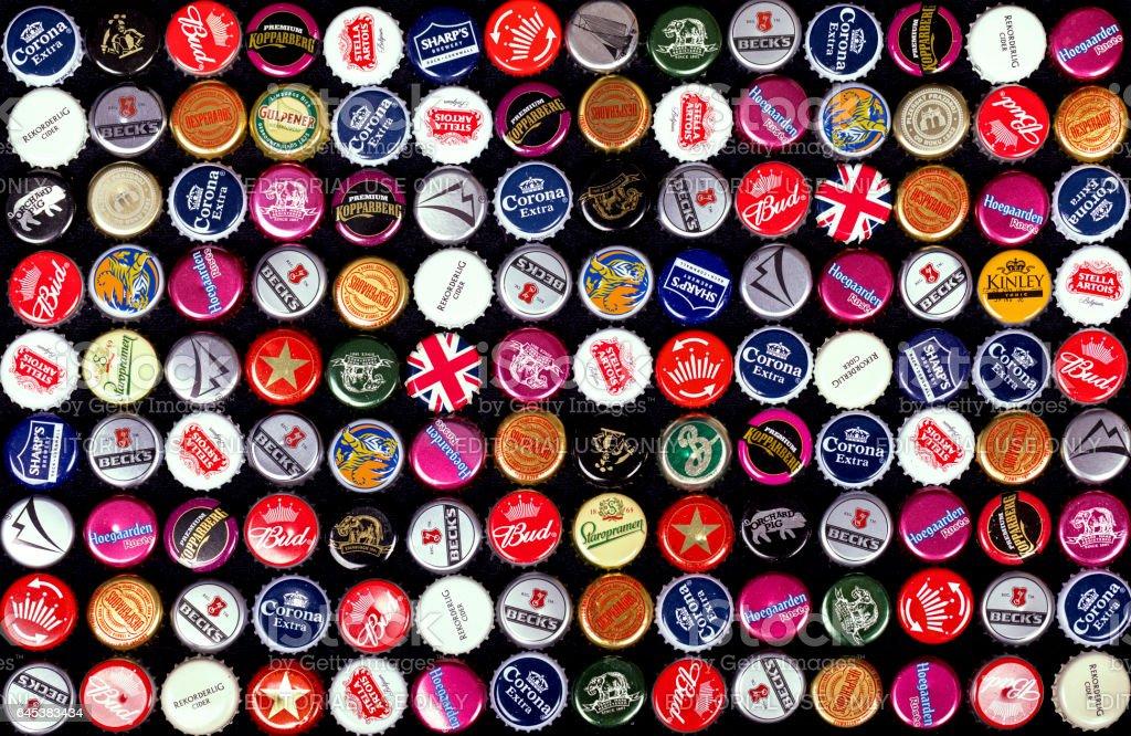 Bottle caps background stock photo