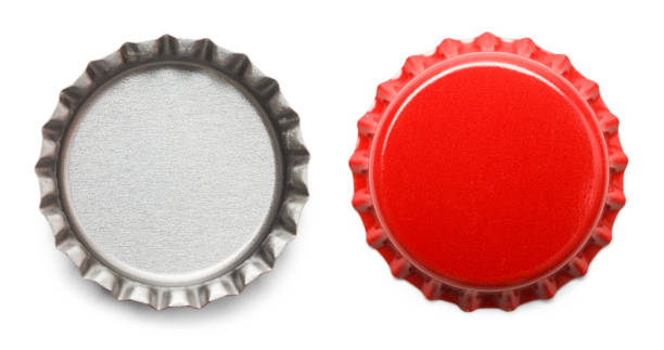 Bottle Caps Red Bottle Caps Isolated on White Background. bottle cap stock pictures, royalty-free photos & images