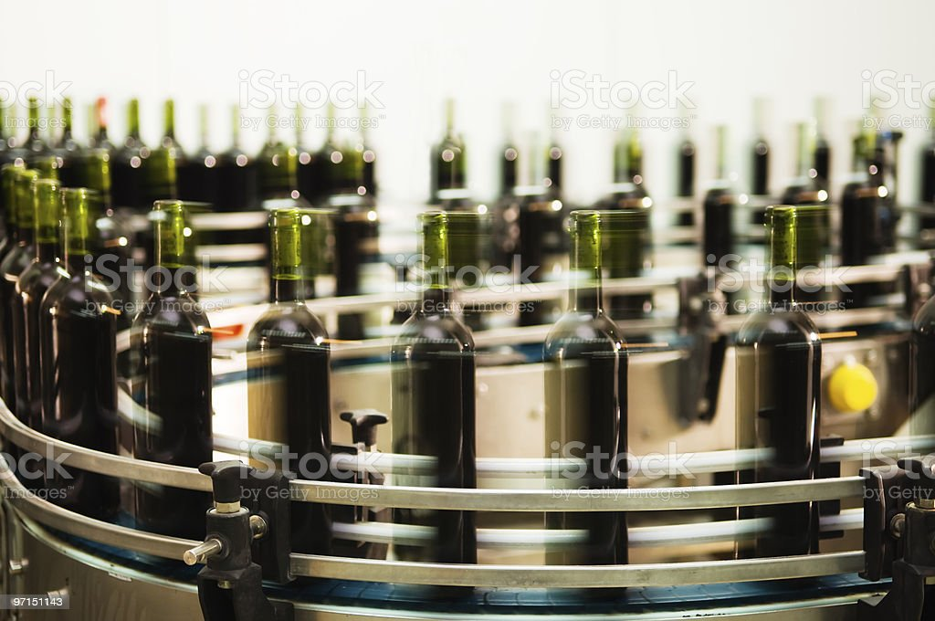 Bottle filling line stock photo