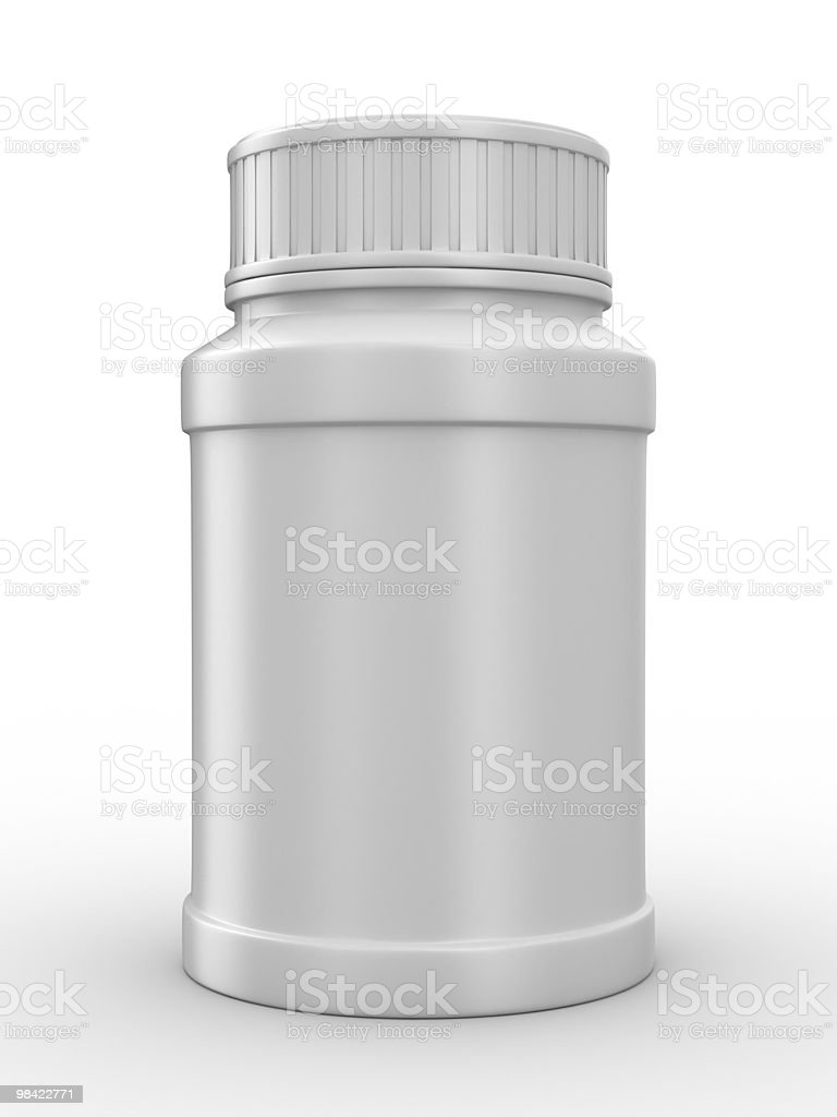 Bottle for tablets on white background. Isolated 3D image royalty-free stock photo