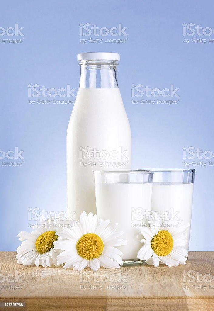 Bottle, glass of milk and chamomile flower is wooden table royalty-free stock photo