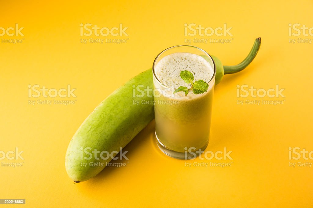 bottle gourd Juice / lauki juice / Lagenaria siceraria juice stock photo