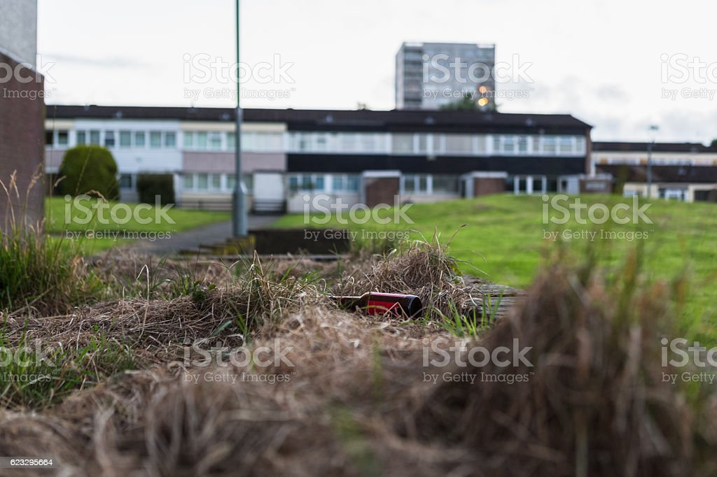 Bottle in dried grass with estate in background stock photo