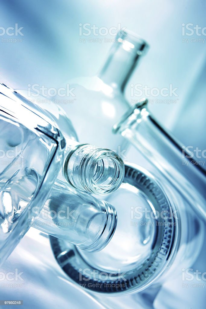 Bottle in light closeup royalty-free stock photo