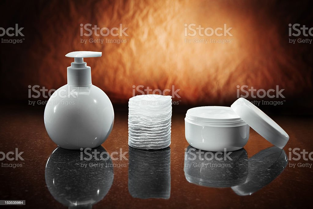 bottle jar and pads royalty-free stock photo