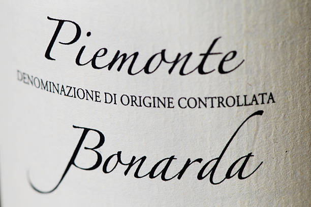 Bottle label of Bonarda wine stock photo