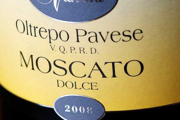 Bottle label of Moscato Dolce wine stock photo