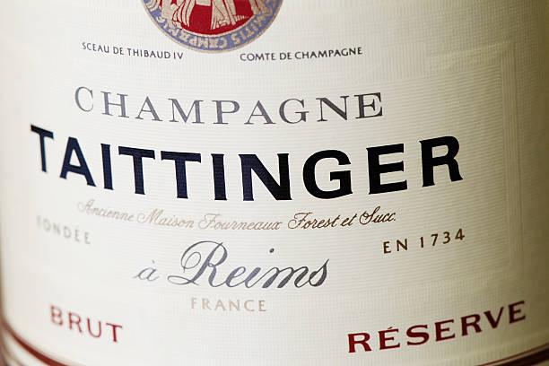 Bottle label of Taittinger Champagne wine stock photo
