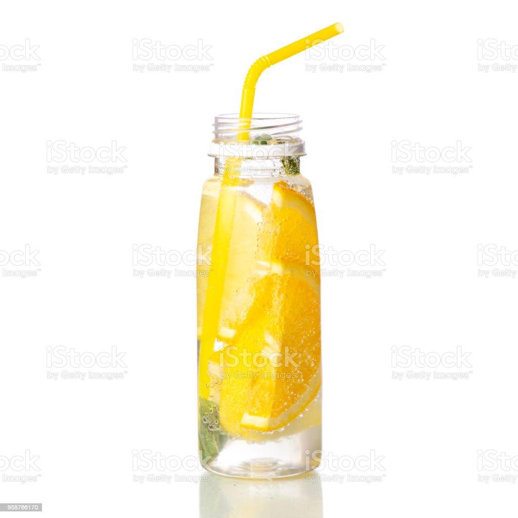 ミントとレモンのボトル レモネード - かんきつ類のロイヤリティフリーストックフォト
