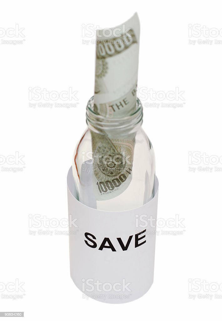 Bottle message 'save the money' royalty-free stock photo
