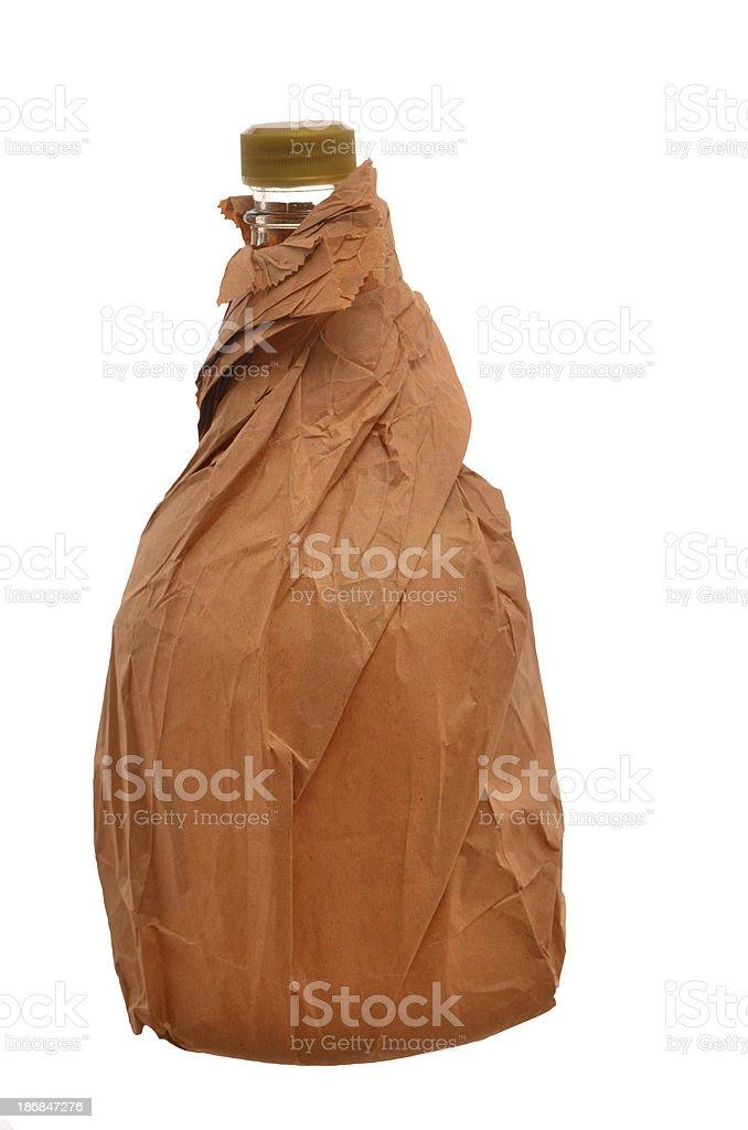 bottle of alcohol in brown paper bag stok fotoğrafı