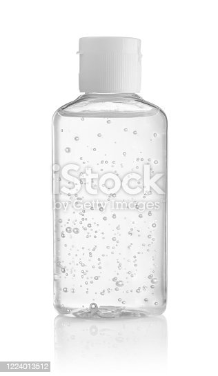 Bottle of antiseptic hand gel isolated on white background.