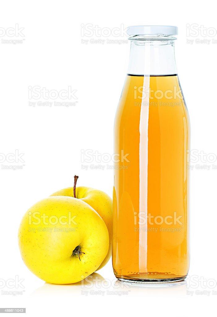 bottle of apple juice stock photo