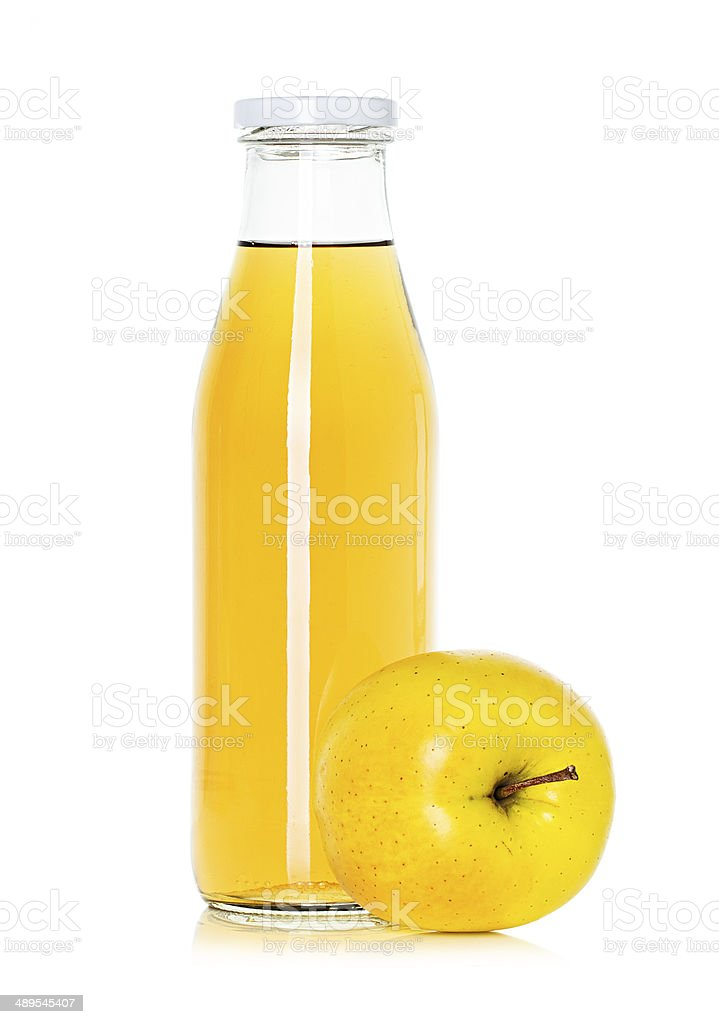 bottle of apple juice with apple stock photo