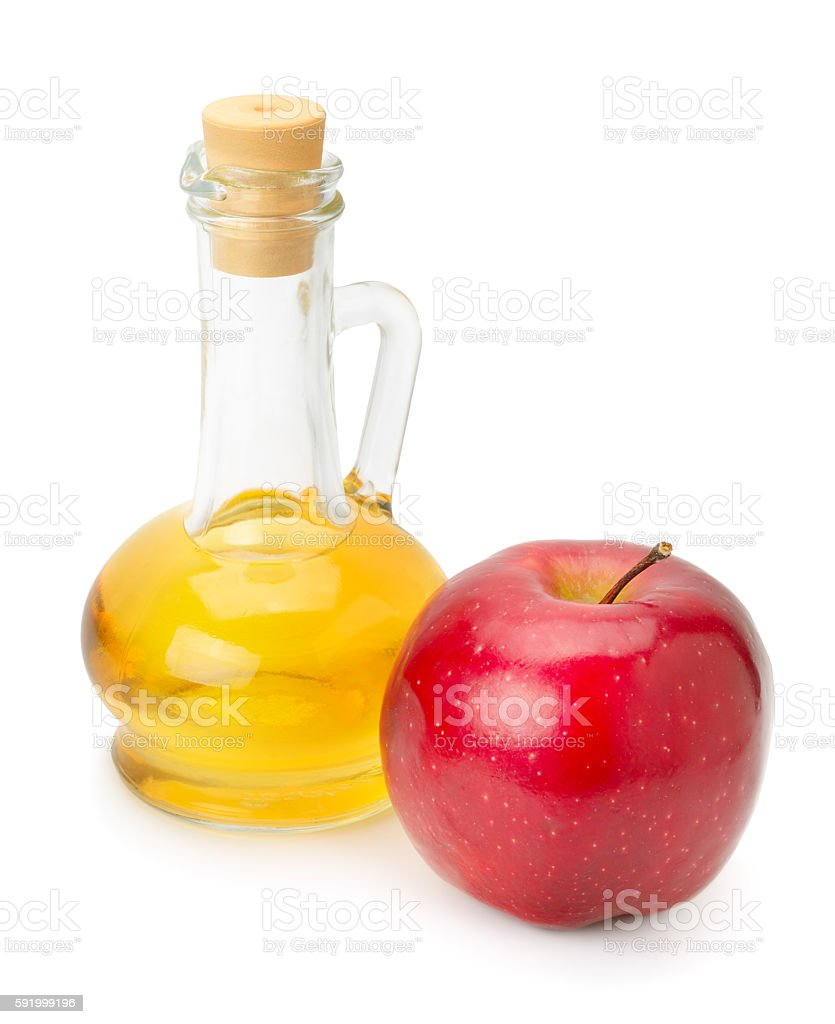 bottle of apple vinegar and apple stock photo