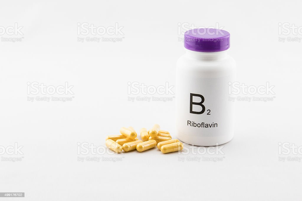 Bottle of B2 vitamins stock photo