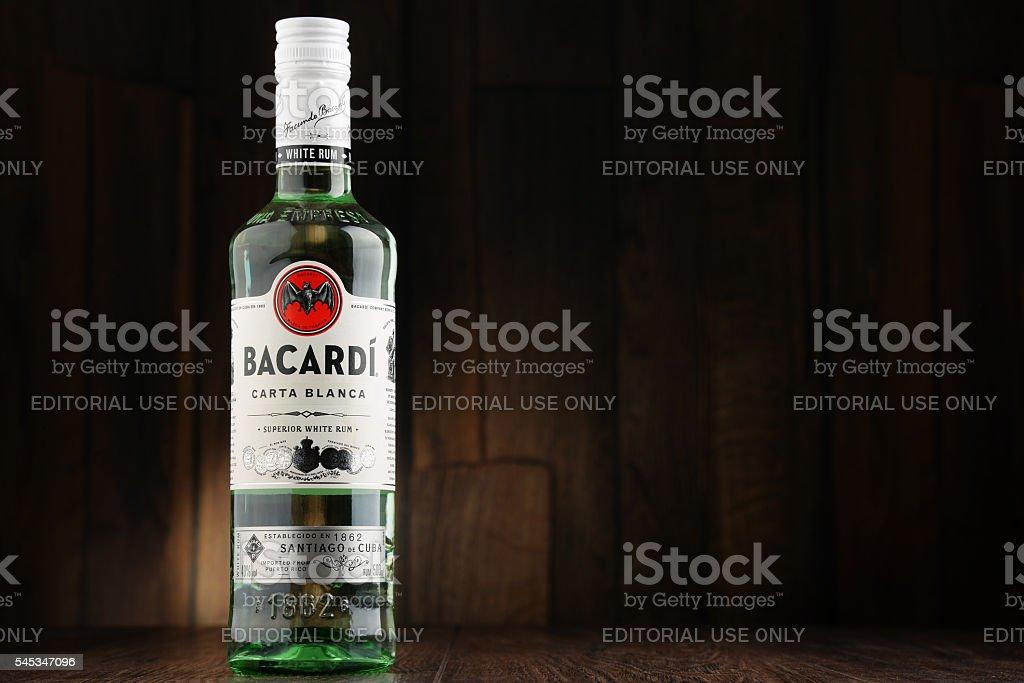 Bottle of Bacardi white rum stock photo