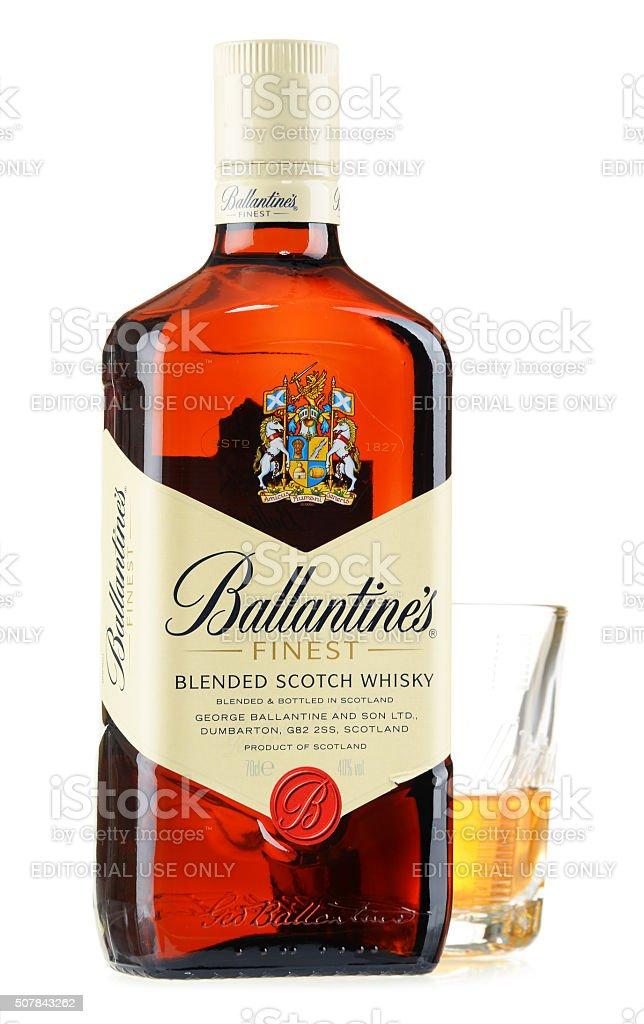 Bottle of Ballantine's scotch whisky isolated on white stock photo