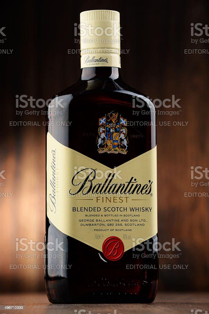 Bottle of Ballantine's scotch whisky stock photo