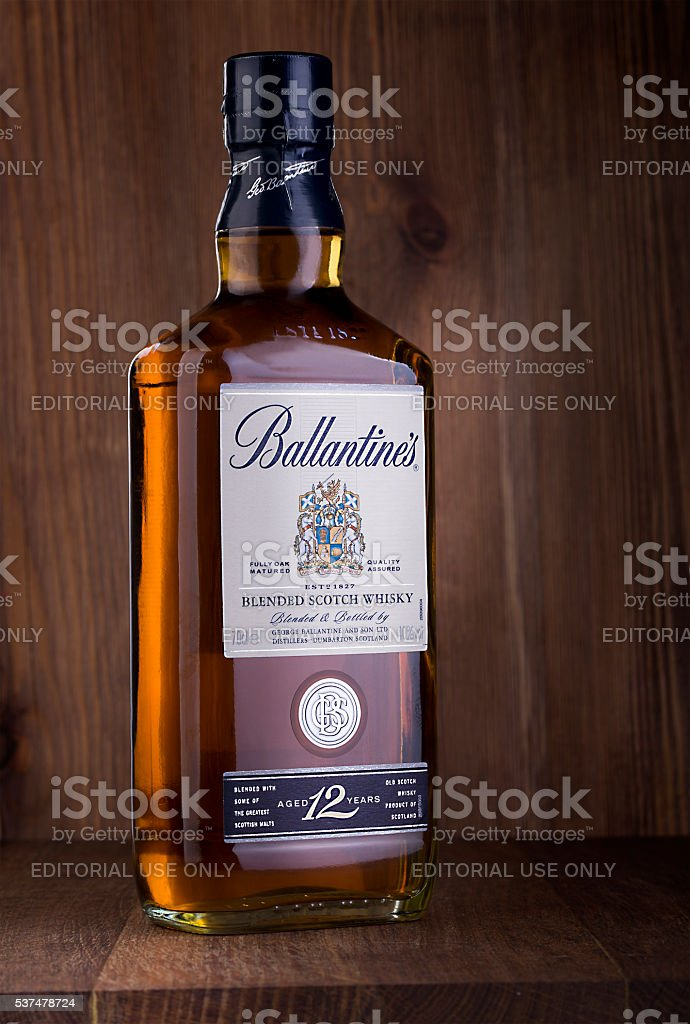 bottle of  Ballantine's whiskey stock photo