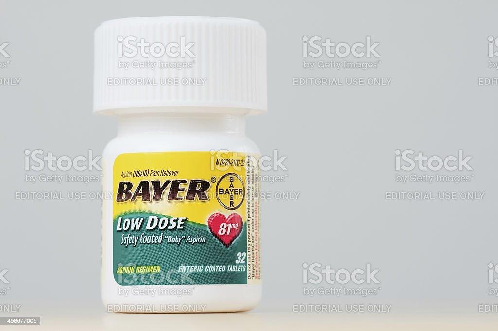 Bottle of Bayer Low Dose Aspirin stock photo