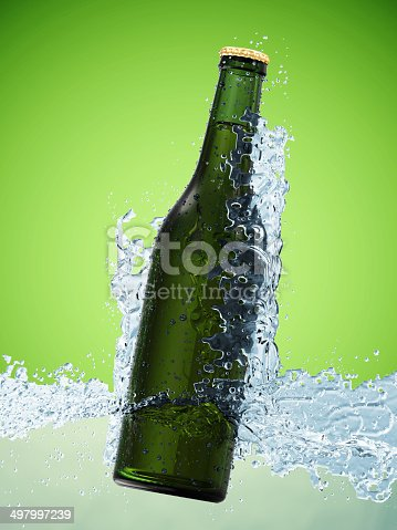 istock Bottle of Beer in Water on green gradient background 497997239