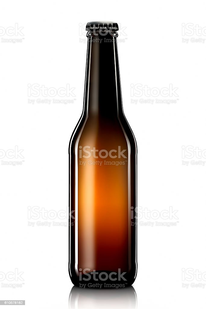 Bottle of beer or cider isolated on white background stock photo