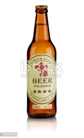 Brown beer bottle with a custom designed label on it,, with clipping path.