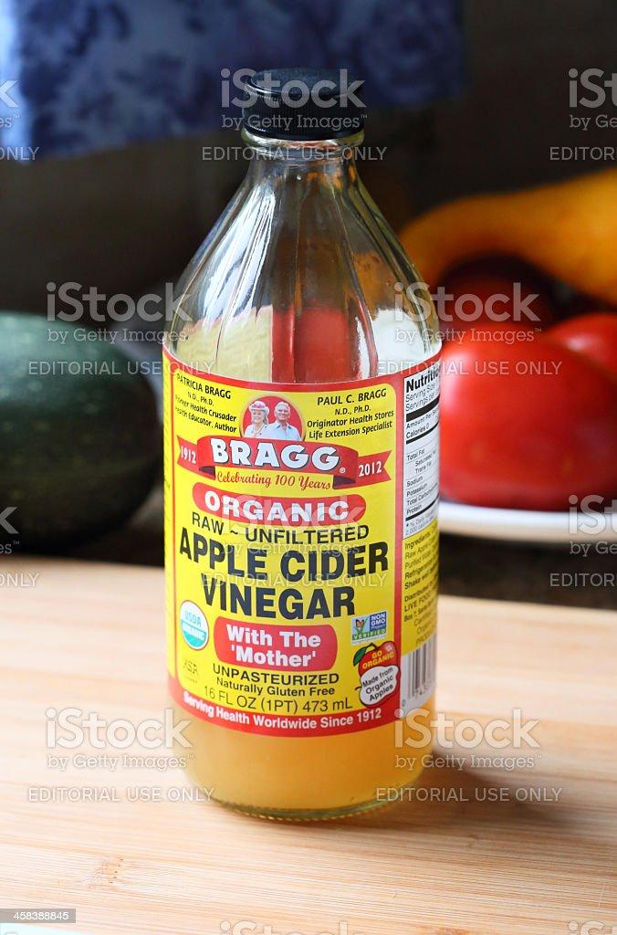 Bottle of Bragg Apple Cider Vinegar stock photo