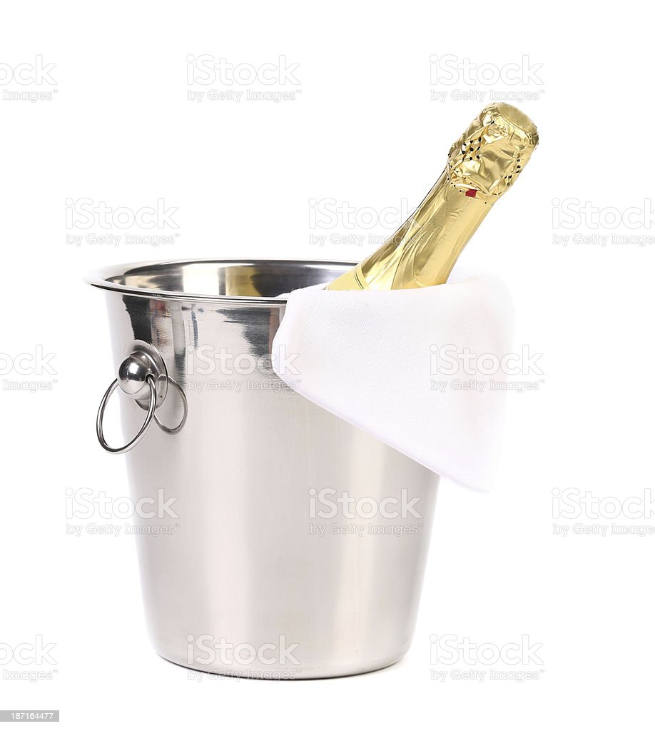 Bottle of champagne in cooler. royalty-free stock photo