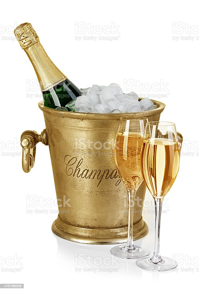 Bottle Of Champagne In Ice Bucket With Stemware Isolated ...