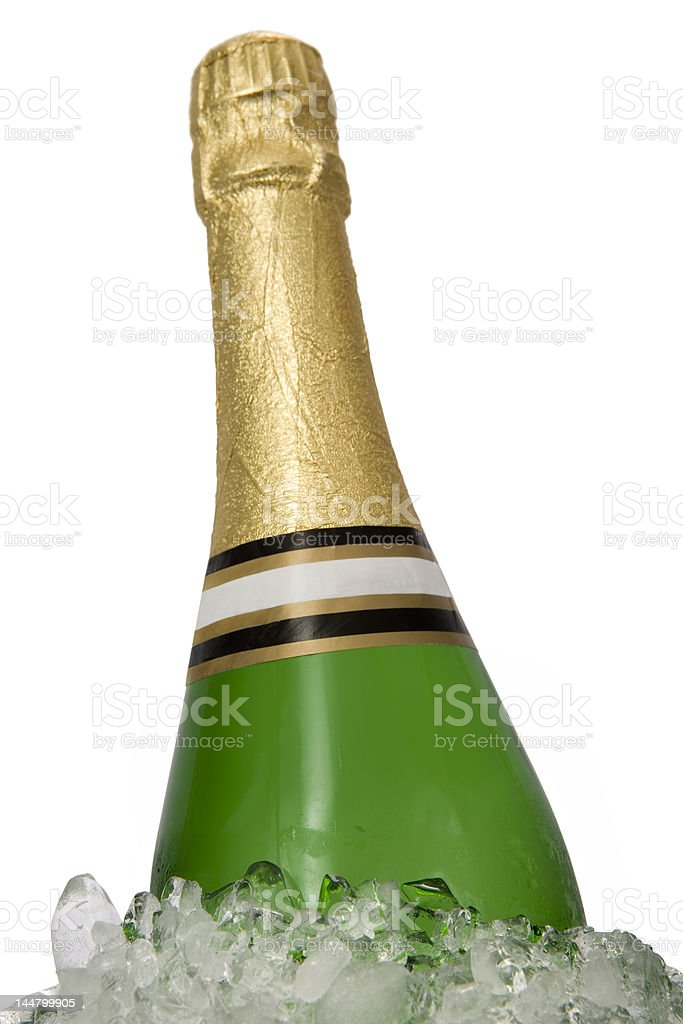 Bottle of champagne on ice royalty-free stock photo