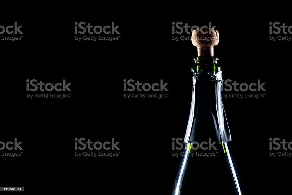 bottle of champagne uncork stock photo