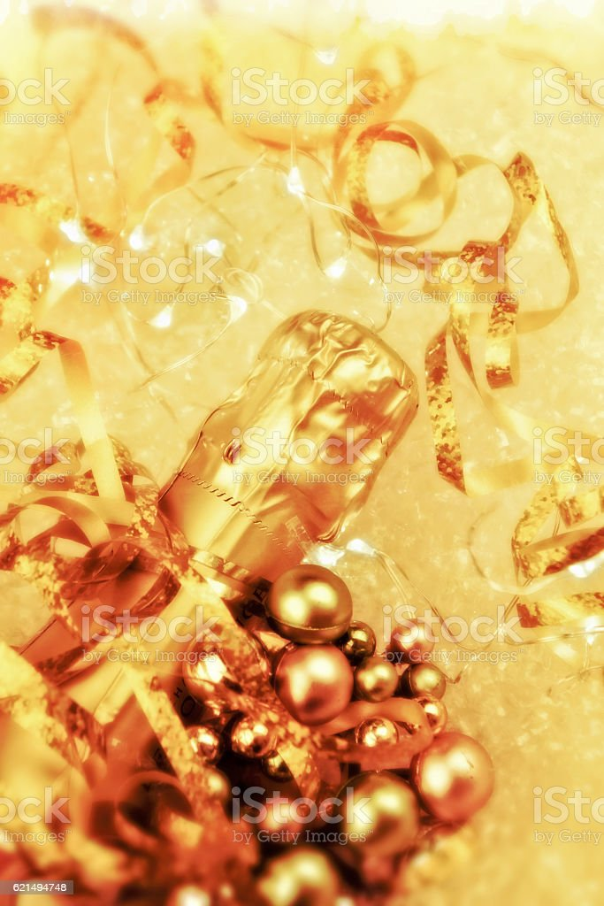 Bottle of champagne with decorations photo libre de droits