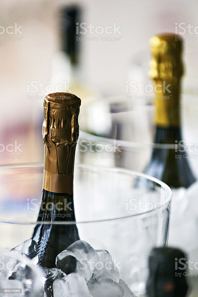 Bottle of Champagne with ice. royalty-free stock photo