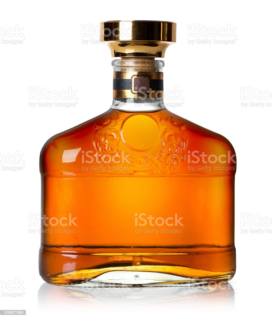 Bottle of cognac stock photo