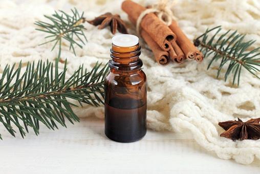 istock Bottle of comforting wintertime fragrance 607590648