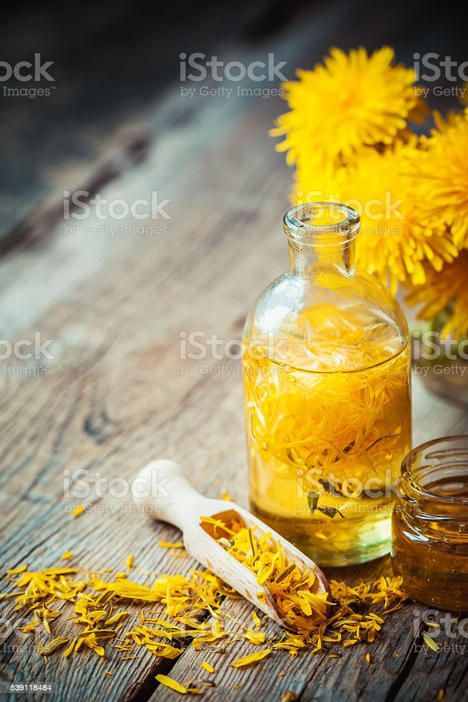 Bottle of dandelion tincture or oil, flower bunch and honey stock photo