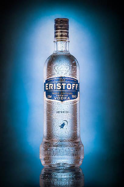 Bottle of Eristoff vodka stock photo
