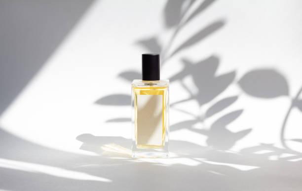 白い背景に日光と葉の影を持つエッセンス香水のボトル。 - 芳香 ストックフォトと画像