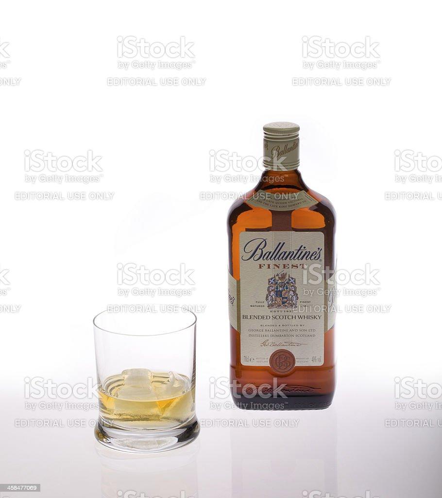 Bottle of finest blended scotch whiskey Ballantine's stock photo