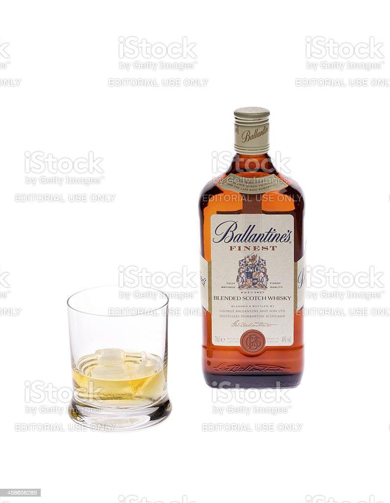 Bottle of finest blended scotch whiskey Ballantinestine's stock photo