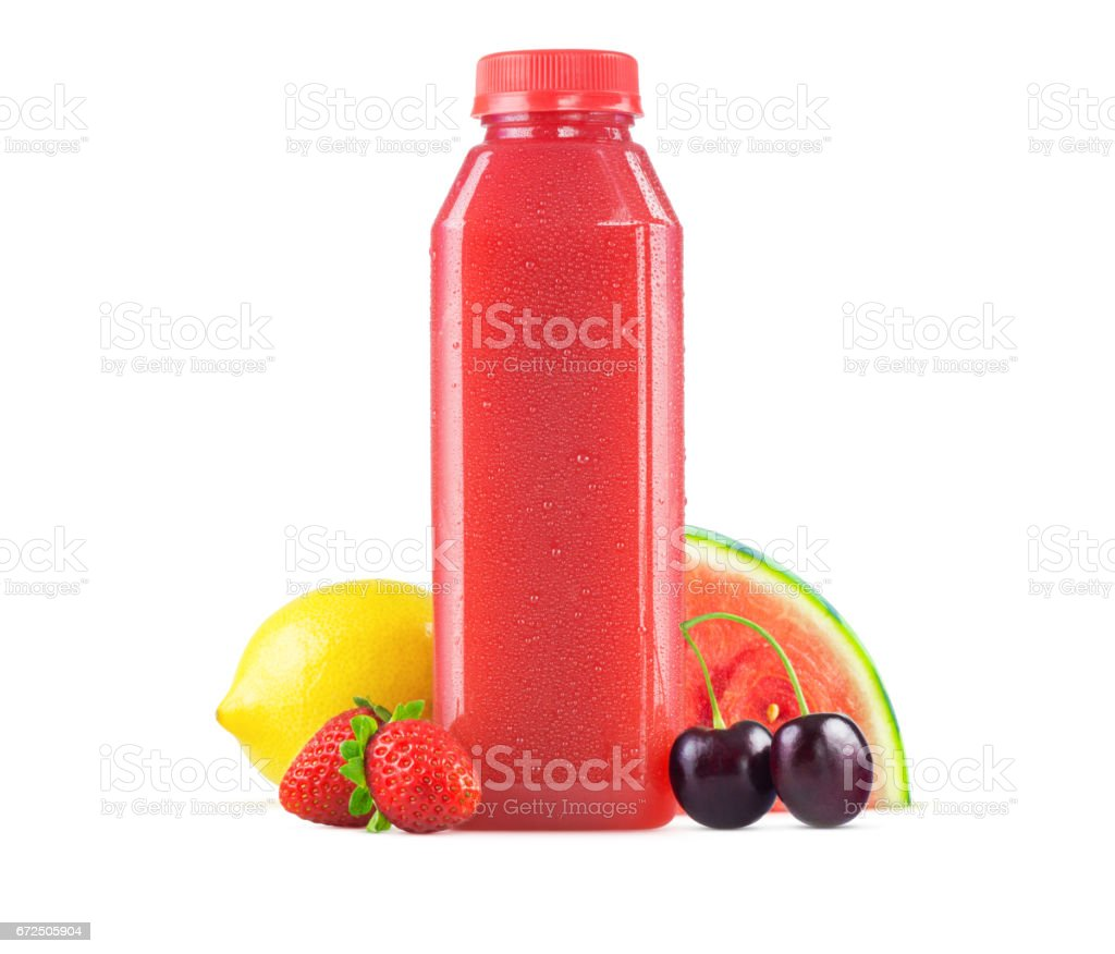 Bottle of Freshly Squeezed Watermelon Berry Lemonade Juice stock photo