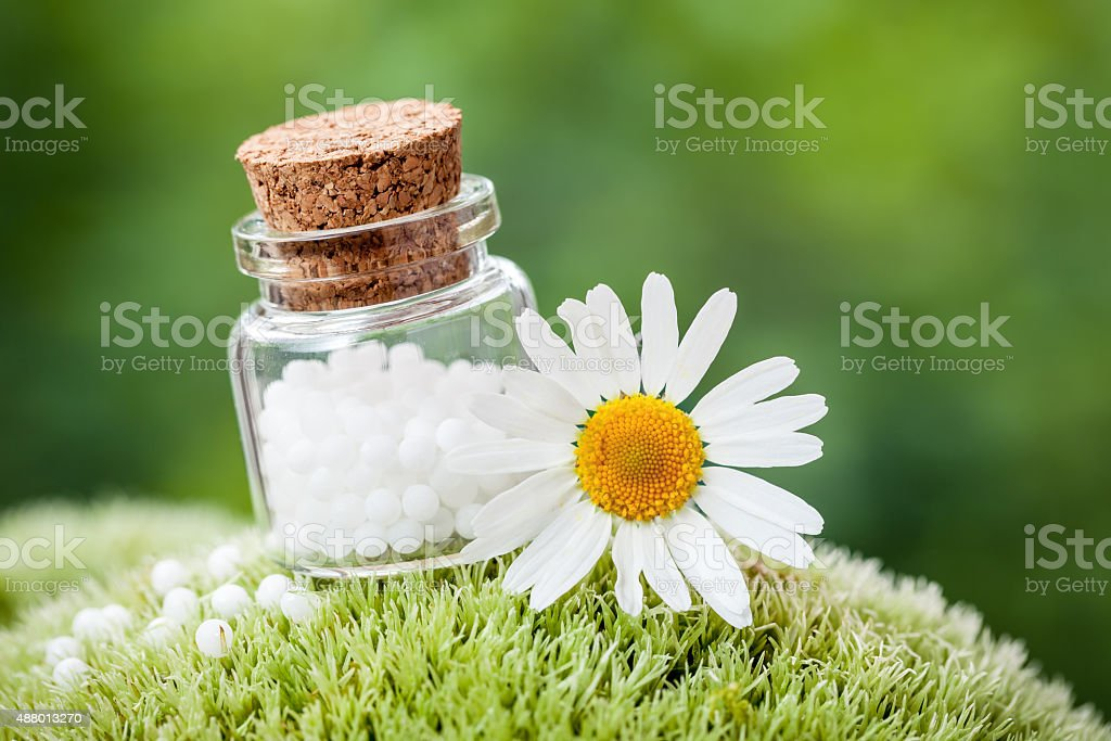 Bottle of homeopathy globules and daisy flower stock photo