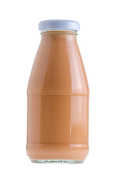 Bottle of Ice milk tea isolated on white background stock photo
