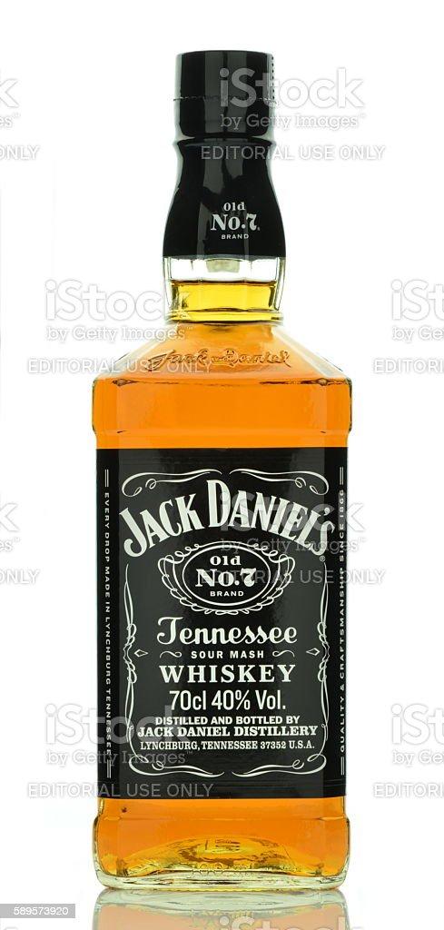Bottle of Jack Daniels whiskey isolated on white background - foto de stock