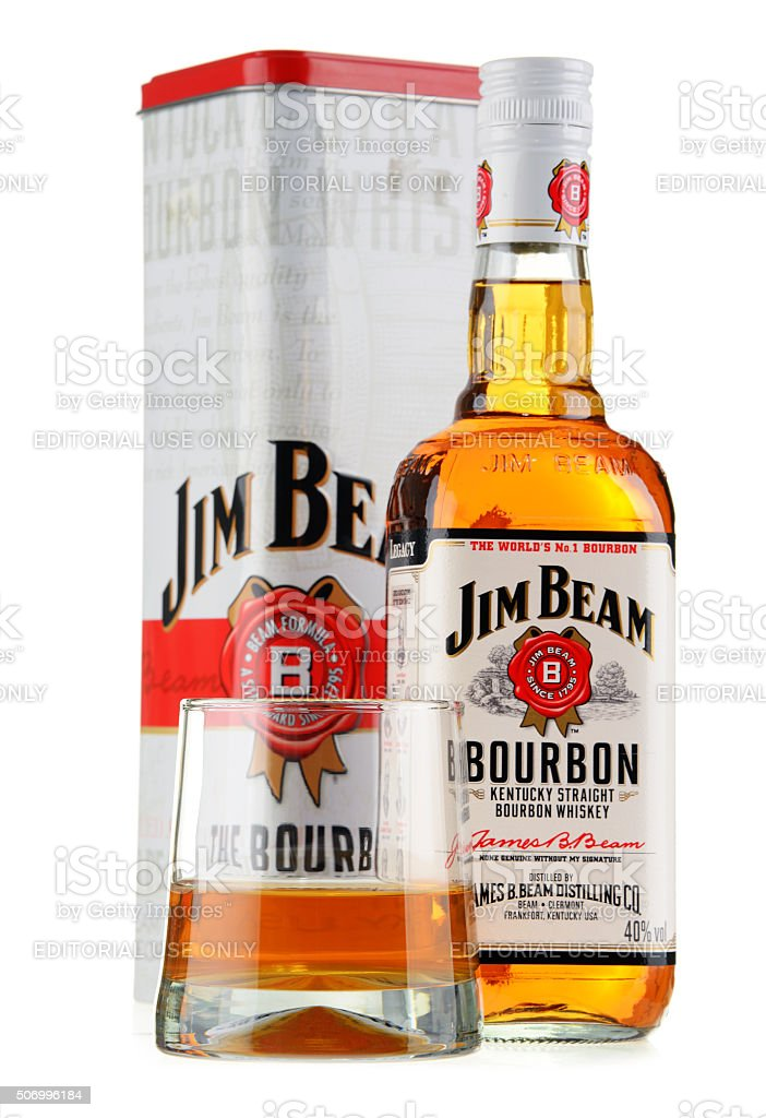 Bottle of Jim Beam bourbon isolated on white stock photo